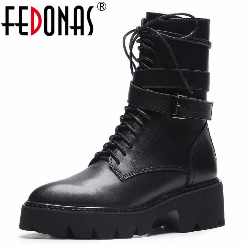 FEDONAS Punk Sexy Black Women High Heels Martin Shoes Woman Platforms Genuine Leather Ankle Boots Sexy Buckles Motorcycle Boots fedonas sexy punk black women genuine leather shoes woman sandals summer buckles rivets party shoes female platforms sandals