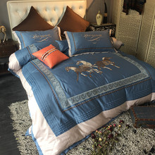 Blue Horse Animal luxury Embroidery Royal Bedding set King Queen Egyptian Cotton Bed set Duvet cover bed sheet Pillowcase 4/6pcs(China)