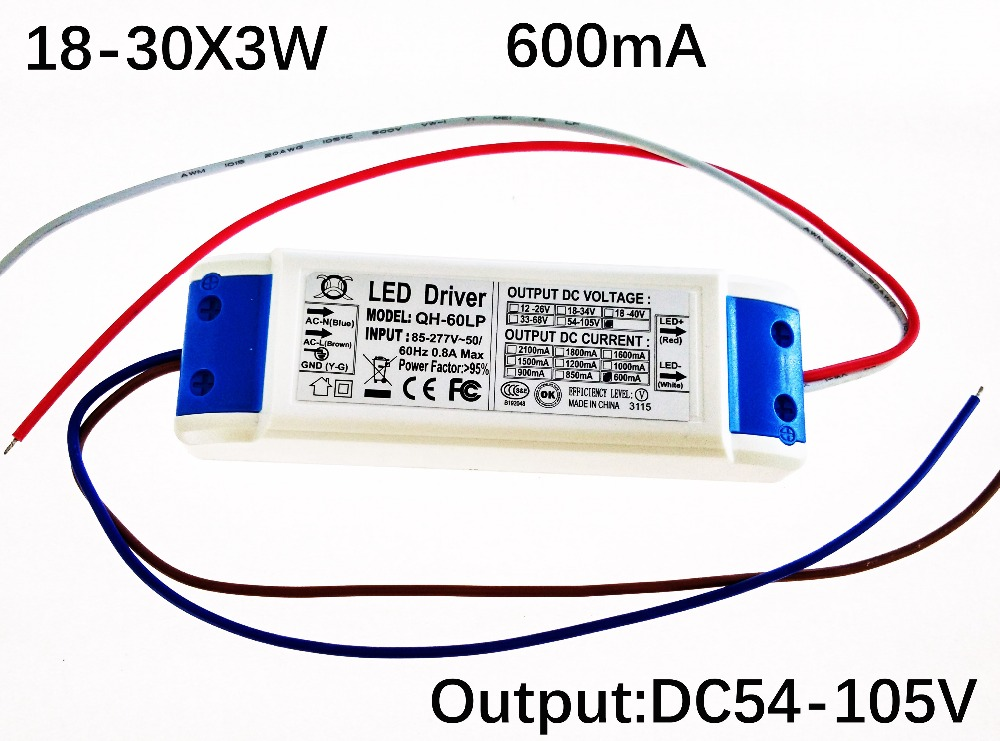 цена Free shipping 40W 50W 60W LED Driver 18-30x3W 600mA DC54-105V High Power LED Power Supply