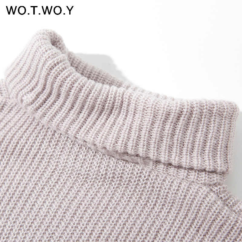 WOTWOY Осень Зима Водолазка для женщин 2018 свитер длинный вязаный пуловер для женщин Свободные Повседневные свитера женский джемпер кашемир