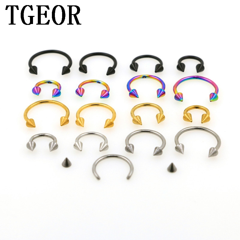 Free shipping wholesale hot 100pcs 16G 18G spike cone surgical Steel plated titanium COLORS piercing circular horseshoe ring