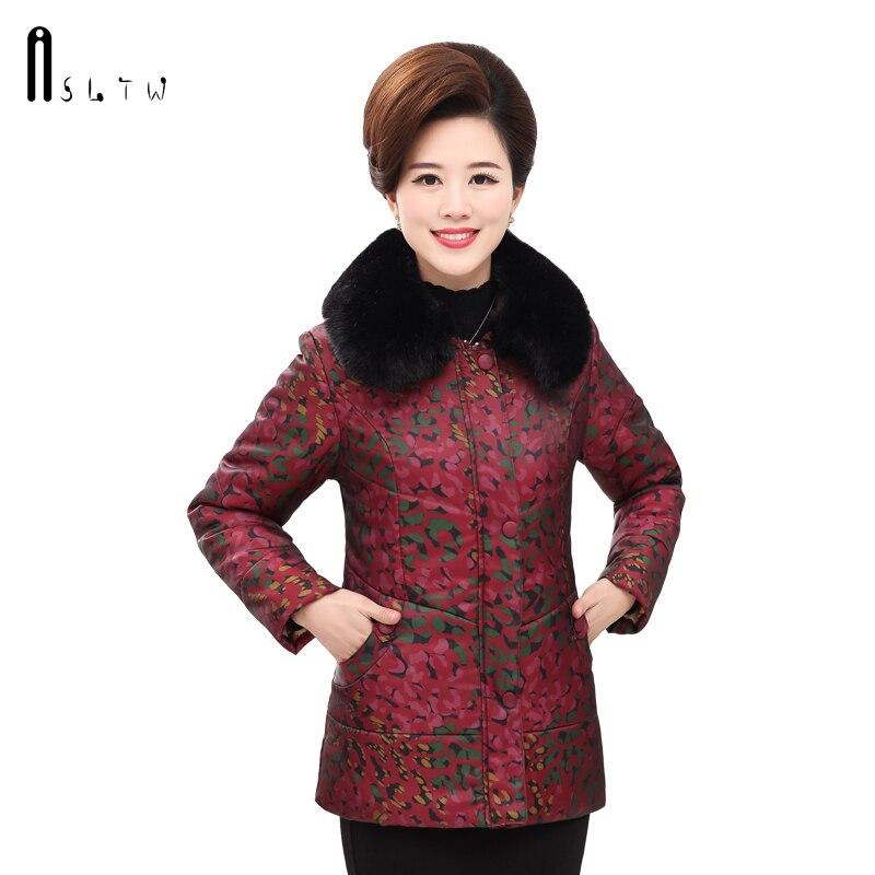 ASLTW Winter Jacket Women New Arrive Long Sleeve Print Coats Turn Down Fur Collar Women   Parka   Plus Size Cotton Coat