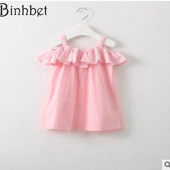 c5b793347 Binhbet 2018 niñas vestido verano nueva moda dulce gasa sin mangas Ropa  para Niñas princesa vestido niños Clohting