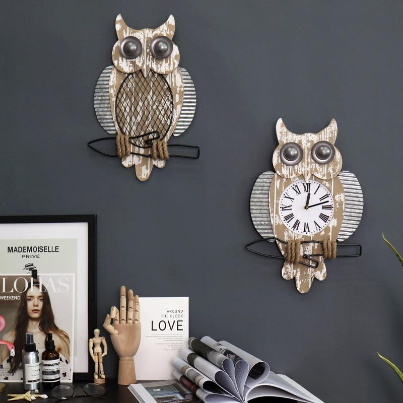 Retro Clock Wall Watch Owl Wall Decoration Home Decoration Children's Bedroom Clock|Figurines & Miniatures| - AliExpress