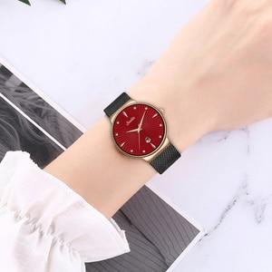 Image 3 - SUNKTA Gül Altın Kırmızı Kuvars Kadın Izle Moda Basit Su Geçirmez Izle Bayan Kız Kadın Hediye Lüks marka Saat Zegarek Damski