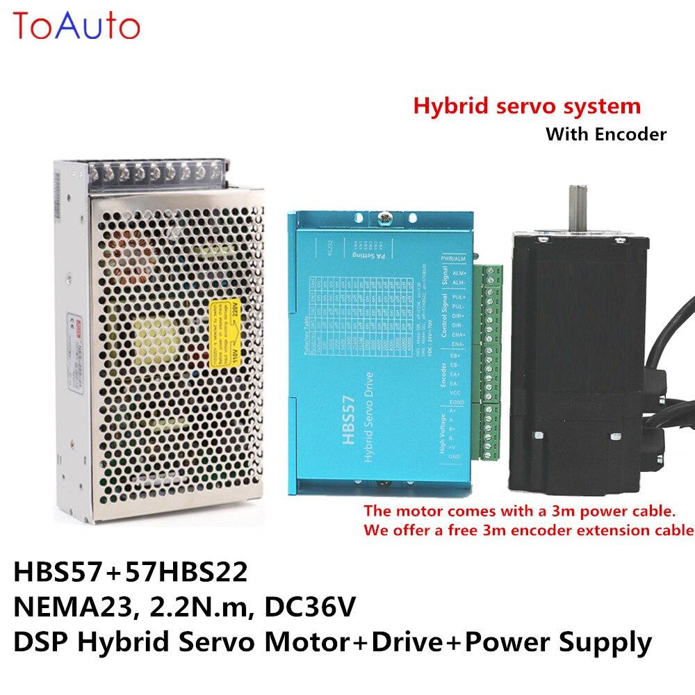 NEMA23 2.2Nm Hybride Servo kits HBS57 + 57HBS22 DC36V DSP En Boucle Fermée Moteur pas à pas + Lecteur + Alimentation pour gravure Laser Cutters