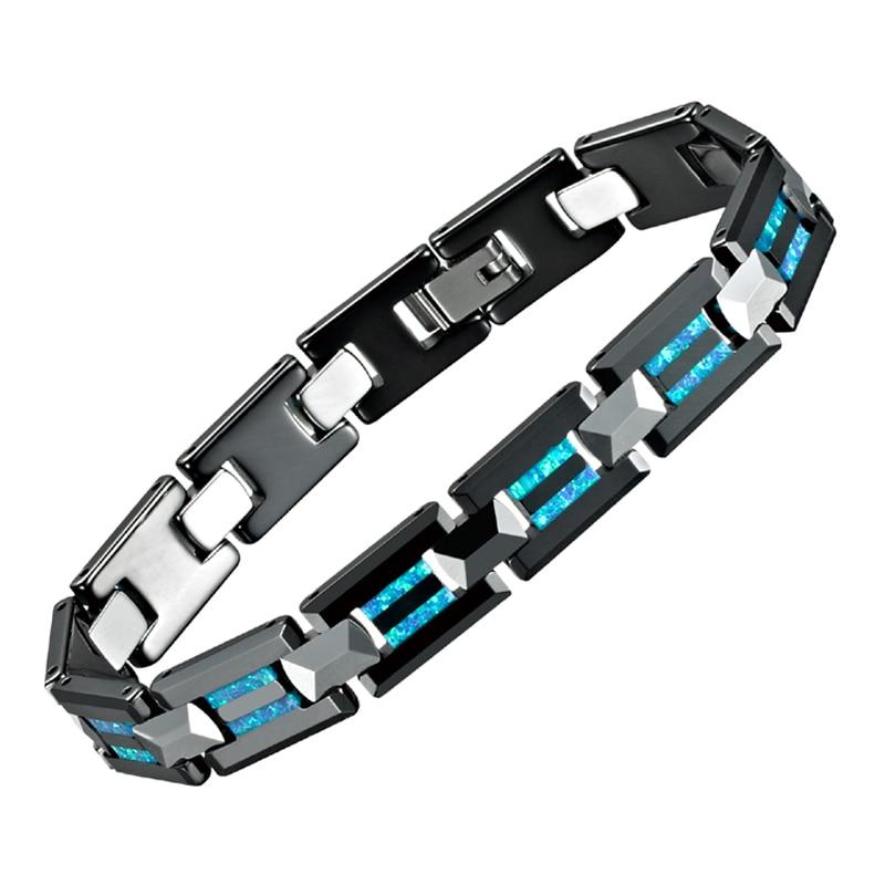 2019 De Luxe Noir En Céramique De Tungstène Carbure Charme bracelets hommes Bijoux pyramide Bleu Opale Naturelle couple bracelets pour les femmes