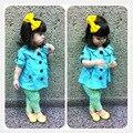 Высокое качество Розничная 2015 Новых Девушек с коротким рукавом пальто + желтый леопард леггинсы набор Детей мода одежда детская одежда наборы 1 компл.
