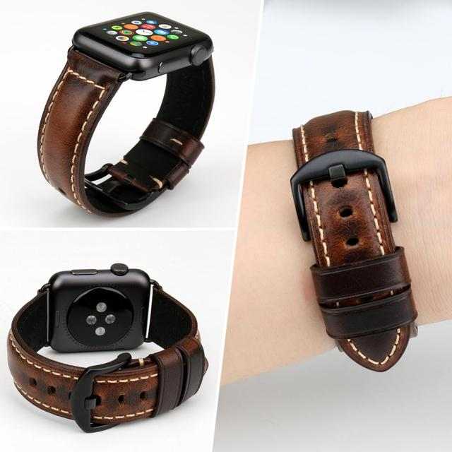 Greased Leather Bracelet Watchband With Adapter