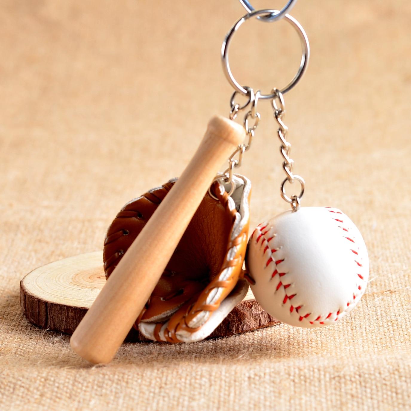 Mini Three Piece Baseball Glove Wooden Bat Keychain Sports