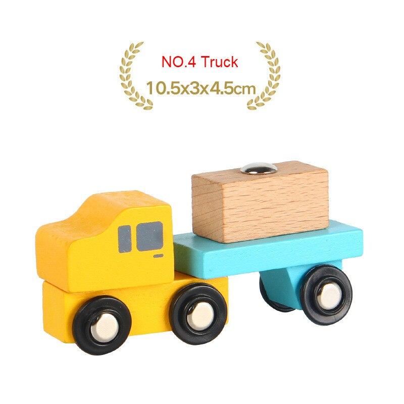 EDWONE деревянный магнитный Поезд Самолет деревянная железная дорога вертолет автомобиль грузовик аксессуары игрушка для детей подходит Дерево Biro треки подарки - Цвет: NO.4 Truck