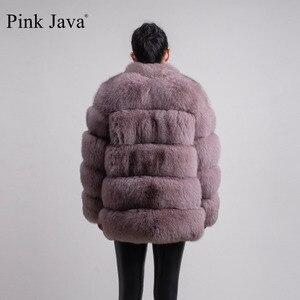 Image 4 - ורוד java QC8142 2018 חדש דגם נשים אמיתי שועל פרווה מעיל עם פרוות שועל צווארון ארוך שרוולים מעיל gebuine שועל תלבושת באיכות גבוהה