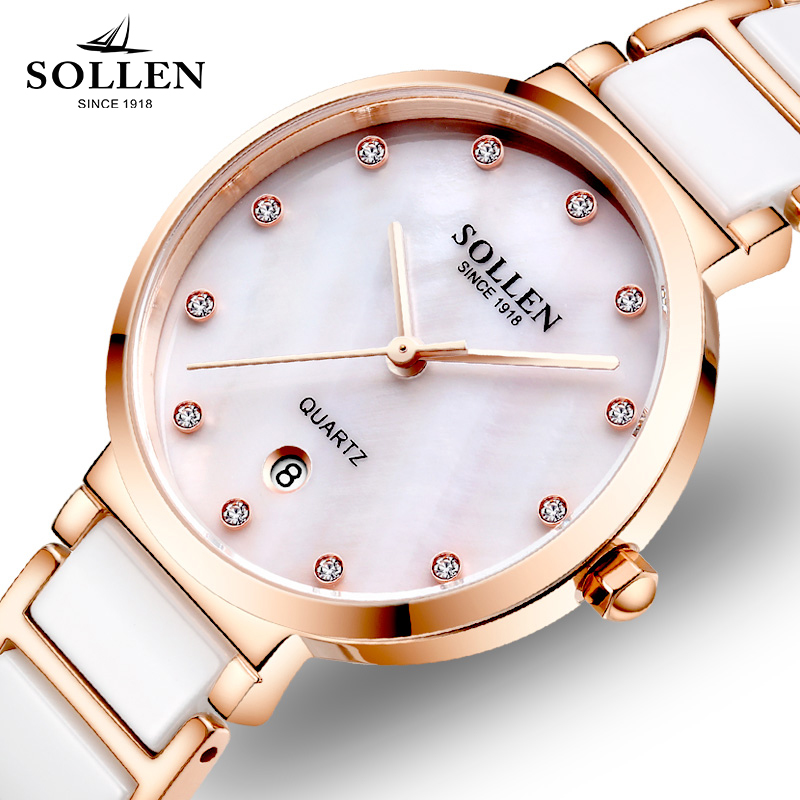 New Luxury Brand SOLLEN Crystal Rosy Gold Casual Quartz Watch Women Stainless Steel Dress Watches Relogio Feminino Clock Hot curved end stainless steel watch band for breitling avenger superocean men women wrist strap bracelet silver gold 18mm 20mm 22mm