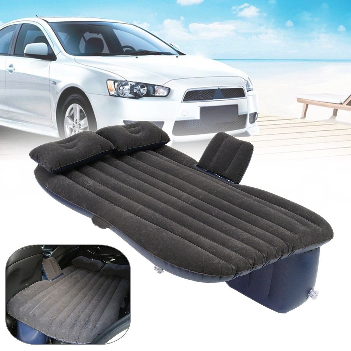 Outdoor camping Car Back Seat Cover Air Mattress Travel Mat Bed Inflatable Mattress Air Inflatable Car Bed with Inflatable Pump universal auto back seat cover car air inflation mattress bed drive travel car inflatable bed wave design with air pump