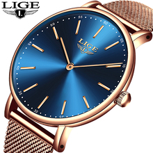 цены LIGE Super Slim Rose Gold Mesh Stainless Steel Watches Women Top Brand Luxury Casual Clock Ladies Wrist Watch Lady Reloj Mujer