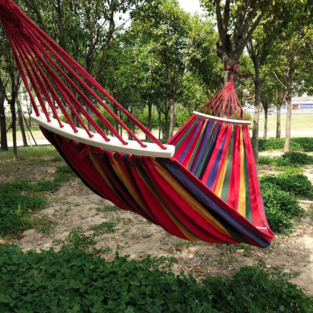 2 People 260*150cm Outdoor Canvas Camping Hammock Bend Wood Stick Steady Hamak Garden Swing Hanging Chair Hangmat Blue Red