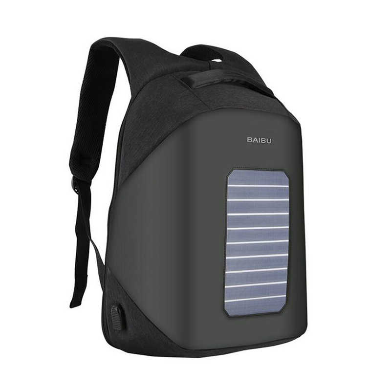 aed6c2a9432a BaiBu Men Backpack 15.6 Inch Laptop Solar Charge USB Designer Backpack  Waterproof Anti-theft School Bags For Teenagers Student