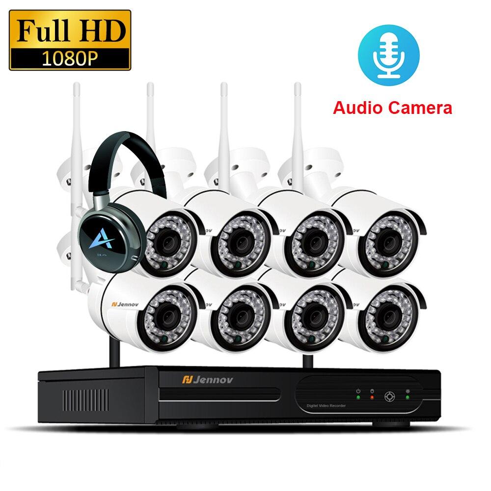 8CH 1080 p 2MP IP Caméra Enregistrement Audio Sans Fil de Sécurité CCTV Système Accueil NVR wifi Vidéo Surveillance Kits Ensemble wi-fi led Lumière Cam