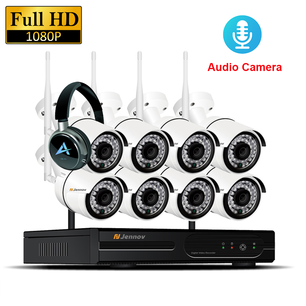 8CH 1080 p 2MP IP Kamera Audio Record Drahtlose Sicherheit CCTV System Hause NVR wifi Video Überwachung Kits Set wi-fi led Licht Cam