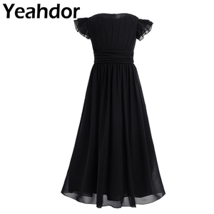 Image 1 - Kids Girls Flutter Sleeves Pleated High waisted With Sash Ties Floor Length Chiffon Dress Flower Girls Dresses for Wedding Party