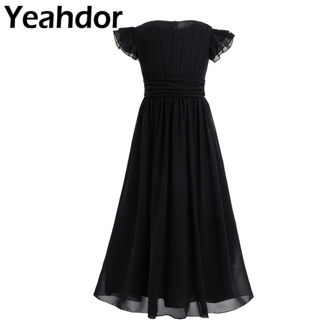 Kids Girls Flutter Sleeves Pleated High waisted With Sash Ties Floor Length Chiffon Dress Flower Girls Dresses for Wedding Party