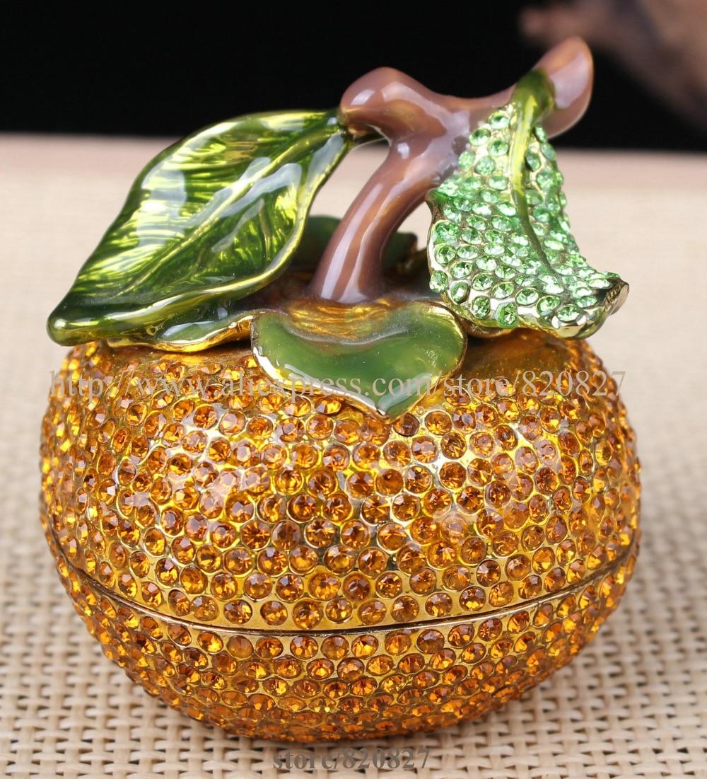 CRYSTAL ORANGE ENAMELED FRUIT TRINKET BOX YELLOW TRINKET BOX PAINTED FRUIT JEWEL TRINKET BOX FRUIT SHAPED DISPLAY ORNAMENT jewel box