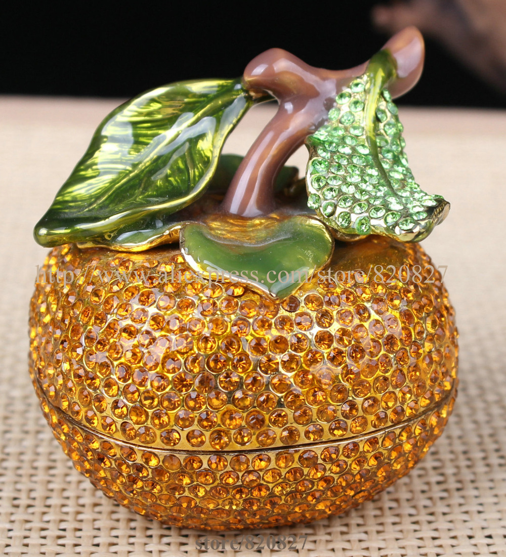 CRYSTAL ORANGE ENAMELED FRUIT TRINKET BOX YELLOW TRINKET BOX PAINTED FRUIT JEWEL TRINKET BOX FRUIT SHAPED DISPLAY ORNAMENT