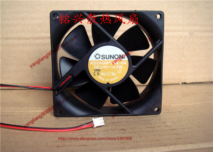 Free Shipping For SUNON KD2409PTBX-6A DC 24V 4.5W 2-wire 2-pin connector 80mm 90x90x25mm Server Square Cooling fan free shipping for delta afc0612db 9j10r dc 12v 0 45a 60x60x15mm 60mm 3 wire 3 pin connector server square fan