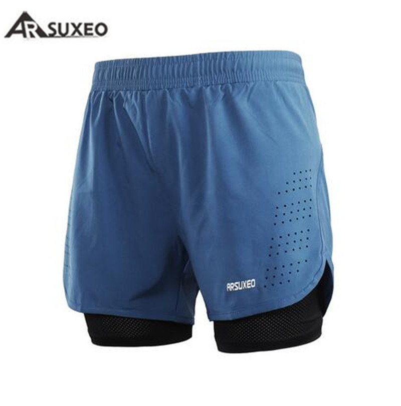 ARSUXEO Mens <font><b>Sports</b></font> <font><b>2</b></font> <font><b>in</b></font> <font><b>1</b></font> Running <font><b>Shorts</b></font> Active Training Exercise Running New Men's <font><b>Short</b></font> Homme Sporting <font><b>Shorts</b></font> Men Gym <font><b>Short</b></font> image