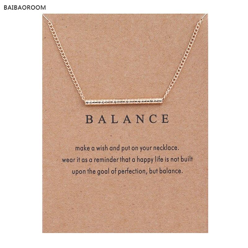 Новый золотой-цветовой баланс древесины прямой бар сплава ключицы змея кулон короткие Цепочки и ожерелья