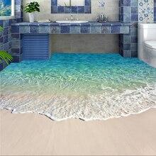 カスタム自己粘着床壁画写真の壁紙 3D 海水波フローリングステッカー浴室摩耗ノンスリップ防水壁論文