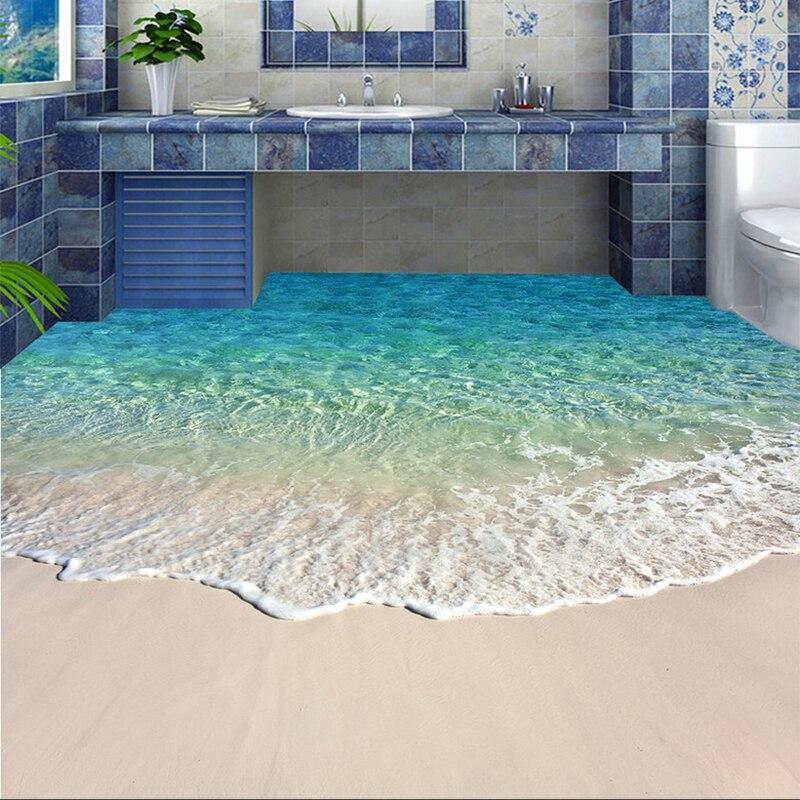 Personalizado auto-adesivo piso mural foto papel de parede 3d seawater onda piso adesivo banheiro usar não-deslizamento papéis de parede à prova dwaterproof água