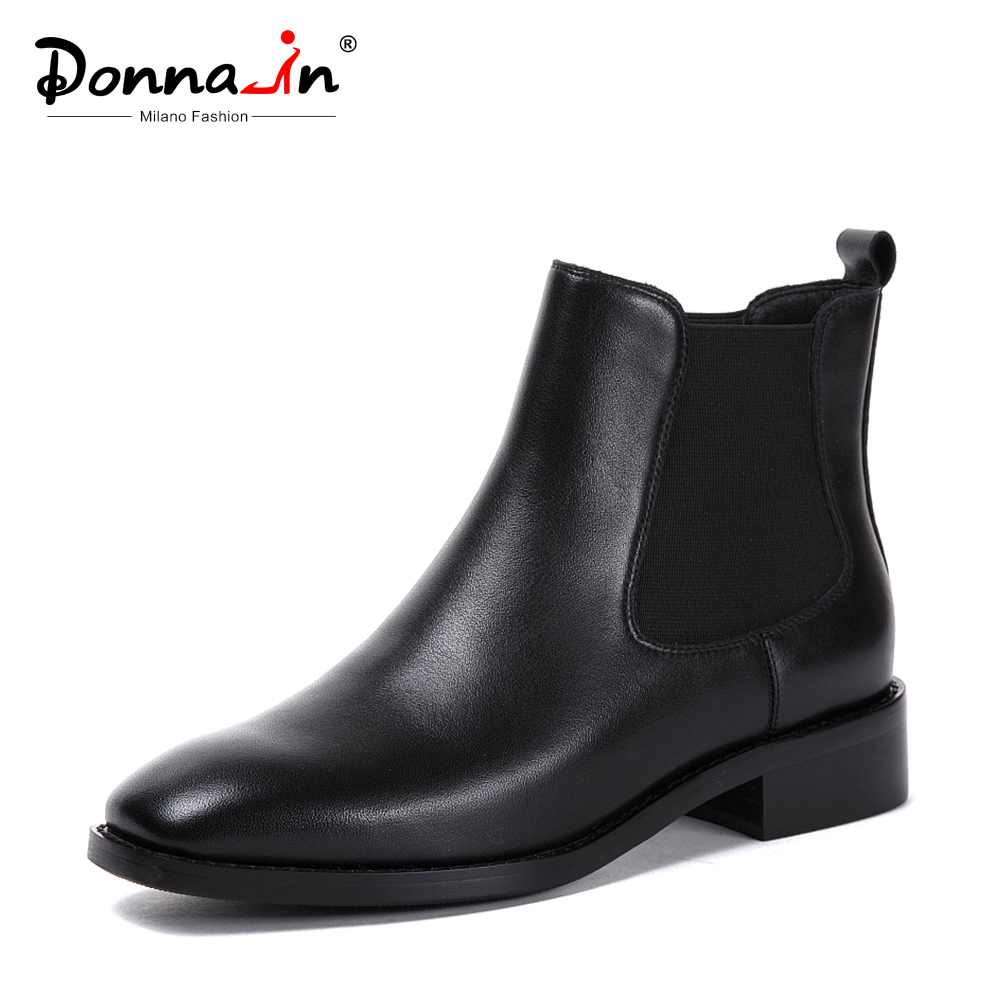 Donna-in Women Boots 2018 Genuine Leather Chelsea Boots Handmade Ankle Boots Brand Square Toe Chunky Ladies Shoes Plush Size цена
