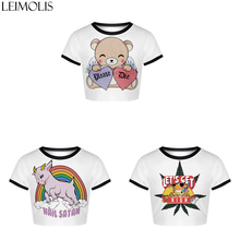 LEIMOLIS Summer Print Bear Rainbow Leaf White Cartoon Harajuku Kawaii Streetwear Sexy Tight Crop Top Girl Punk Rock Women Tops