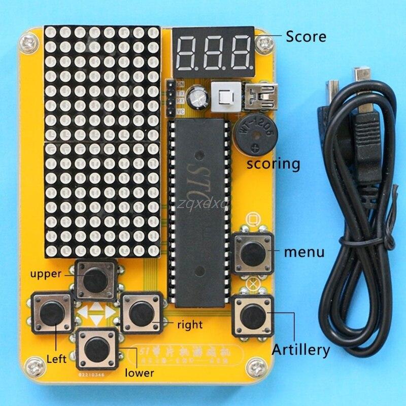 Electrónica DIY Kit MCU juego de ordenador bricolaje electrónica serpiente para Tetris/serpiente/avión/RacingDot matriz Kit de juego electrónica de octubre de