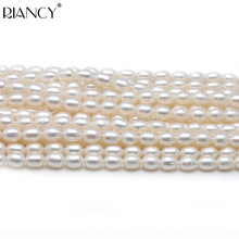 4-5mm Rice Shape Freshwater Small Pearl Loose Beads,DIY Real Pearl Beads Strand Necklace 37cm недорого