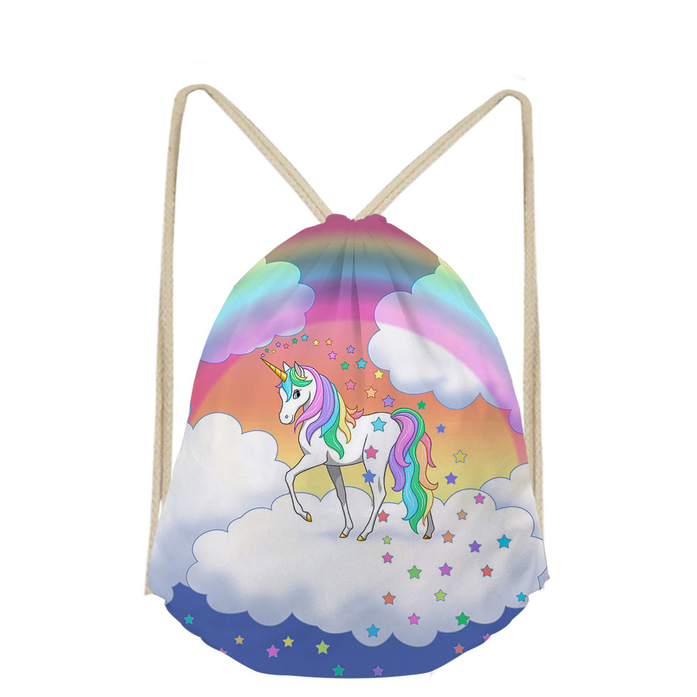 3D Unicorn Cartoon Pattern Print School Bags Bookbags For Boys Girls Drawstring Bag Teens Kids Shoe