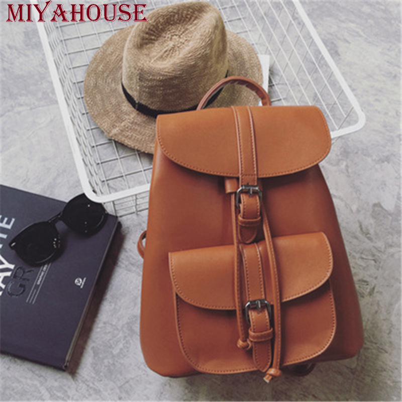Miyahouse New Arrival Drawstring PU Leather Women Backpack Teenage Girl Solid School bag Female Fashion Shoulder Bag Travel Bag miyahouse new fashion pu leather backpack women school bags for teenagers girls travel backpack female high quality shoulder bag