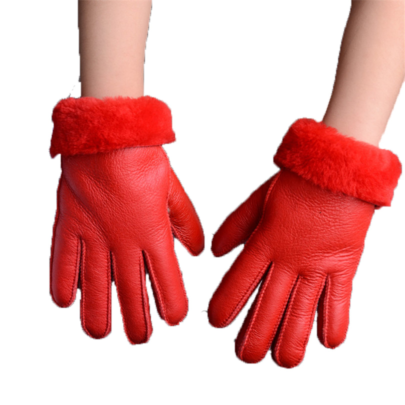 Winter Gloves Kids Real Fur Gloves For Children Thicker Leather Rabbit Fur Gloves 100% Wool Child Five Finger Russia Warm Gloves