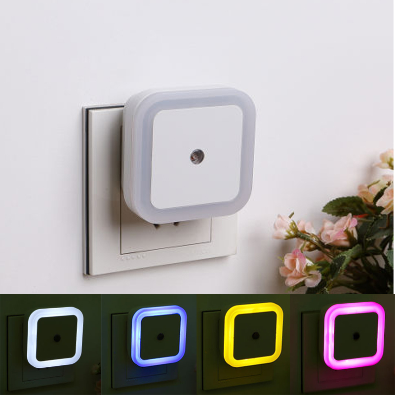 Geoeon Light Sensor Control Night Light Mini EU US Plug Novelty Square Bedroom lamp For Baby Gift Romantic Colorful Lights A515Geoeon Light Sensor Control Night Light Mini EU US Plug Novelty Square Bedroom lamp For Baby Gift Romantic Colorful Lights A515