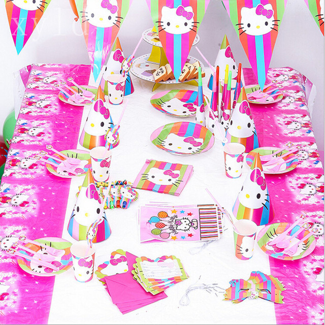 86pcs Hello Kitty Minion Mickey Minnie Birthday Party Decoration Paper Cups Plates Set For Kids