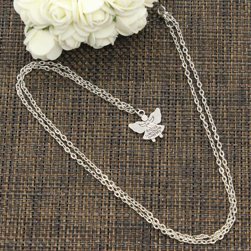 New Fashion Necklace guardian angel watch over me 20x19mm Silver Pendants Short Long Women Men Colar Gift Jewelry Choker