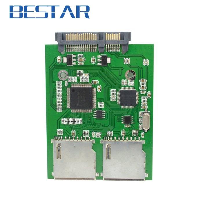 Dual SD SDHC MMC Memory Card to 7+15 Pin 22pin SATA Male Convertor Kit RAID0 Adapter Adaptor beautiful gift new usb to rs232 db9 serial com convertor adapter support plc drop shipping kxl0728
