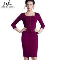 Vintage Work New 2014 European Style Women Tunic Pencil Dress Charming 3 4 Sleeve Office Dress