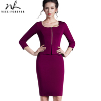 Vintage Work New 2014 European Style Women Tunic Pencil Dress Charming 3 4 Sleeve Office Dress
