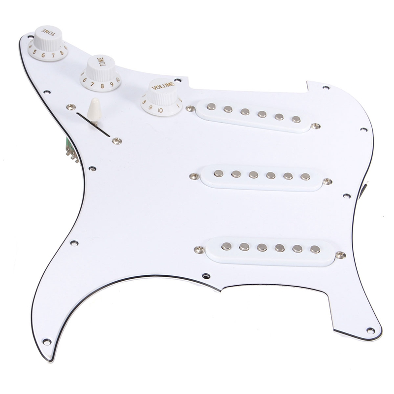 White Electric Guitar 3 Single Coil Loaded Prewired Pickguard Assembly For Strat Guitar Replacement Accessories Pickguard black pearl ssh guitar loaded prewired pickguard scratchplate assembly for electric guitar