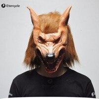 Lobisomem assustador Da Cabeça do Lobo Máscaras de Halloween Máscara De Látex Realista Animais Adereços Cosplay Partido Fancy Dress