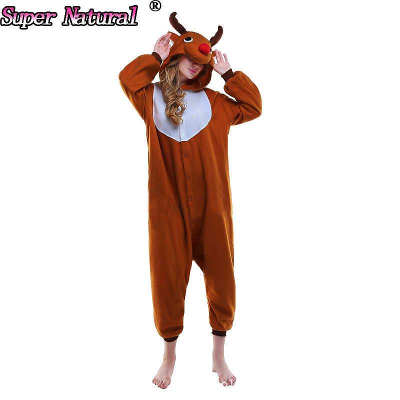 f0246d40fb5f Благоприятный Рождественский Олень пижамы животных зимние Для женщин Для  мужчин Комбинезоны взрослый олени Kigurumi Косплэй костюм