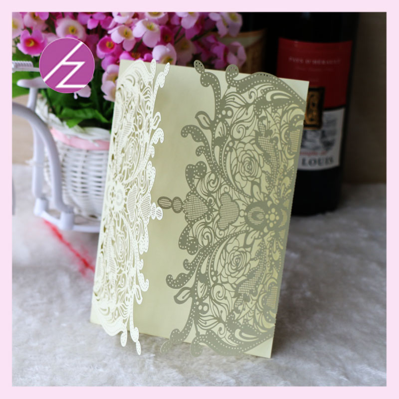 White Lace wedding Invitation Card China supplier modern design ...