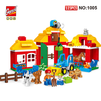 123PCS Happy Farm Big Size Building Blocks Sets DIY Zoo With Animals For Kid City DIY Toys Compatible LegoING With Duploe Bricks
